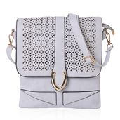 Gray Faux Leather Crossbody Bag (9.4x10.4 in)