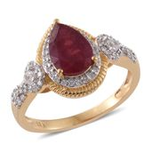 Niassa Ruby, Cambodian Zircon 14K YG Over Sterling Silver Contemporary Ring (Size 7.0) TGW 2.65 cts.