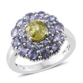 Madagascar Sphene, Tanzanite Platinum Over Sterling Silver Ring (Size 7.0) TGW 3.20 cts.