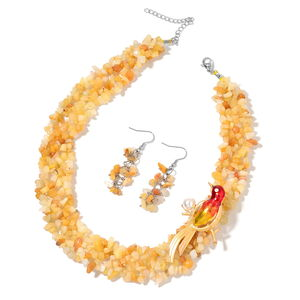 Yellow Quartzite, Chroma Enameled Silvrtone and Stainless Steel Earrings, Bird Brooch With Necklace (20 in) TGW 640.50 cts.