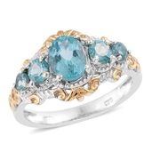 Madagascar Paraiba Apatite 14K YG and Platinum Over Sterling Silver Ring (Size 5.0) TGW 1.80 cts.