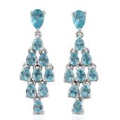 Madagascar Paraiba Apatite Platinum Over Sterling Silver Chandelier Earrings TGW 4.02 cts.