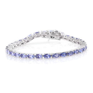 Tanzanite Platinum Over Sterling Silver Tennis Bracelet (6.50 In) TGW 7.50 cts.