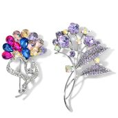 Multi Color Austrian Crystal and Glass Silvertone Set of 2 Flower Brooch