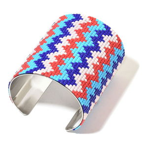 Multi Color Faceted Chroma Beads Goldtone Chevron Pattern Cuff (7 in)