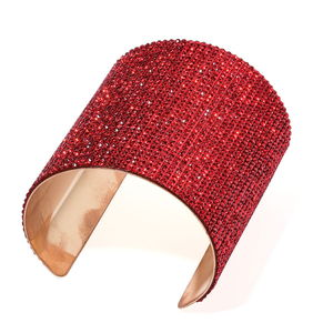 Red Austrian Crystal Goldtone Elongated Cuff (7 in)