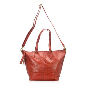 Red Genuine Leather Croco Embossed  RFID Tote Bag with Standing Studs and Removable Strap (19x8x12.5 in)