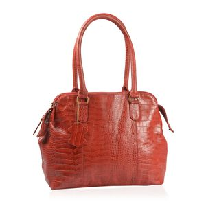 One Time Only Red Genuine Leather Croco Embossed RFID Triple Compartment Shoulder Bag with Removable Strap (18x5.5x11 in)