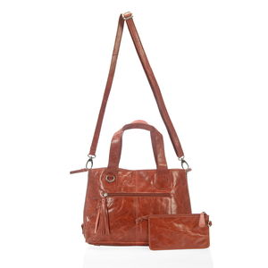 Red Genuine Leather RFID Shoulder Bag (16x5x9 in) with Removeable Matching Clutch (7.5x4 in)