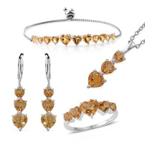 Brazilian Citrine Sterling Silver Bolo Bracelet (Adjustable), Lever Back Earrings, Ring (Size 8) and Pendant With Stainless Steel Chain (20.00 In) TGW 12.10 cts.