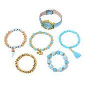 STRADA Austrian Crystal, Glass, Chroma Japanese Movement Watch in Goldtone with Blue Band and Stainless Steel Back and Set of 5 Bracelets (Stretchable)