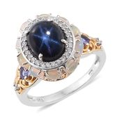 Thai Blue Star Sapphire, Multi Gemstone 14K YG and Platinum Over Sterling Silver Ring (Size 7.0) TGW 7.95 cts.