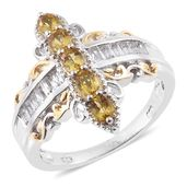 Marialite, White Topaz 14K YG and Platinum Over Sterling Silver Ring (Size 6.0) TGW 1.82 cts.