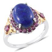 Lapis Lazuli, Orissa Rhodolite Garnet 14K YG and Platinum Over Sterling Silver Ring (Size 10.0) TGW 8.84 cts.