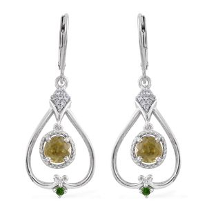 Madagascar Sphene, Russian Diopside, Cambodian Zircon Platinum Over Sterling Silver Earrings TGW 1.73 cts.
