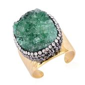 Green Drusy Quartz, Gray and White Austrian Crystal ION Plated YG Stainless Steel Ring (Size 8.0) TGW 3.10 cts.