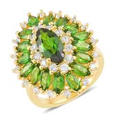 Russian Diopside, White Zircon 14K YG Over Sterling Silver Ring (Size 5.0) TGW 4.35 cts.