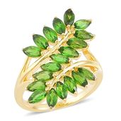 Russian Diopside 14K YG Over Sterling Silver Leaf Bypass Ring (Size 9.0) TGW 3.75 cts.