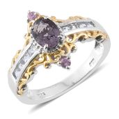 Burmese Lavender Spinel, Purple Sapphire, White Topaz 14K YG and Platinum Over Sterling Silver Ring (Size 6.0) TGW 2.05 cts.