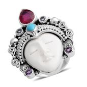 Bali Goddess Collection Carved Bone, Multi Gemstone Sterling Silver Teen Princess Ring (Size 6.0) TGW 3.04 cts.