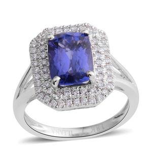 ILIANA 18K WG Premium AAA Tanzanite, Diamond Split Ring (Size 7.0) TDiaWt 0.43 cts, TGW 3.19 cts.