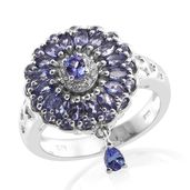 Premium AAA Tanzanite, Cambodian Zircon Platinum Over Sterling Silver Pierced Drop Charm Ring (Size 8.0) TGW 2.35 cts.