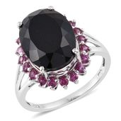 Australian Black Tourmaline Ring in Platinum Over Sterling Silver Total Gem Stone Weight 12.18 cts (Size 10.0)