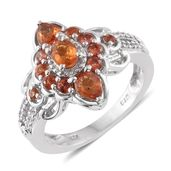Orange Sapphire, Cambodian Zircon Platinum Over Sterling Silver Ring (Size 7.0) TGW 1.78 cts.