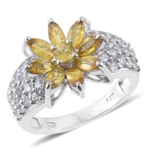 Yellow Sapphire, Cambodian Zircon Platinum Over Sterling Silver Ring (Size 7.0) TGW 4.02 cts.
