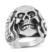 Simulated Black Diamond Black Oxidized Stainless Steel Skull Men's Ring (Size 12.0) TGW 0.50 cts.