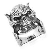 Black Oxidized Stainless Steel Skull Men's Ring (Size 12.0)