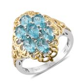 Madagascar Paraiba Apatite 14K YG and Platinum Over Sterling Silver Ring (Size 9.0) TGW 3.46 cts.