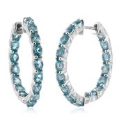 Madagascar Paraiba Apatite Platinum Over Sterling Silver Inside Out Hoop Earrings TGW 6.50 cts.