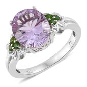 Rose De France Amethyst, Russian Diopside Platinum Over Sterling Silver Ring (Size 7.0) TGW 4.56 cts.