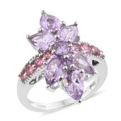 Rose De France Amethyst, Morro Redondo Pink Tourmaline Platinum Over Sterling Silver Floral Ring (Size 8.0) TGW 5.40 cts.