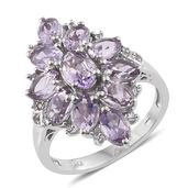 Rose De France Amethyst, Cambodian Zircon Platinum Over Sterling Silver Ring (Size 6.0) TGW 5.00 cts.