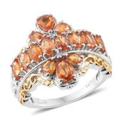 Orange Sapphire 14K YG and Platinum Over Sterling Silver Ring (Size 9.0) TGW 4.08 cts.