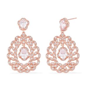 Simulated White Diamond Rosetone Dangle Earrings TGW 15.00 cts.