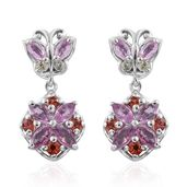 Madagascar Pink, Orange and Green Sapphire Platinum Over Sterling Silver Butterfly Dangle Earrings TGW 2.08 cts.