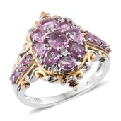 Madagascar Pink Sapphire, Cambodian Zircon 14K YG and Platinum Over Sterling Silver Ring (Size 9.0) TGW 2.28 cts.