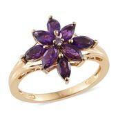 Lusaka Amethyst 14K YG Over Sterling Silver Ring (Size 8.0) TGW 2.13 cts.