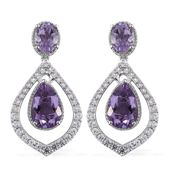 Rose De France Amethyst, Cambodian Zircon Platinum Over Sterling Silver Dangle Earrings TGW 9.74 cts.