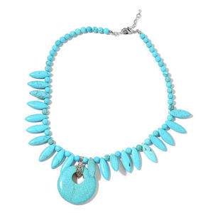 Magnesite Silvertone Tribal Style Necklace (18 in) TGW 344.50 cts.
