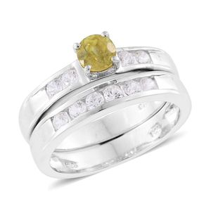 Madagascar Sphene, Cambodian Zircon Platinum Over Sterling Silver Ring Set (Size 7.0) TGW 1.45 cts.