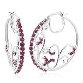 Burmese Ruby Platinum Over Sterling Silver Swirl Hoop Earrings TGW 3.70 cts.