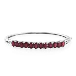 Dan's Jewelry Selections Niassa Ruby (FF) Platinum Over Sterling Silver Bangle (7.25 in) TGW 12.75 cts.