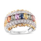 Multi Sapphire, Cambodian Zircon 14K YG and Platinum Over Sterling Silver Ring (Size 7.0) TGW 3.75 cts.
