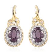 Burmese Lavender Spinel, Cambodian Zircon 14K YG and Platinum Over Sterling Silver Earrings TGW 2.37 cts.