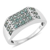 Indian Ocean Apatite Platinum Over Sterling Silver Men's Ring (Size 12.0) TGW 1.62 cts.