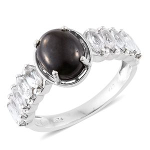 Shungite, White Topaz Platinum Over Sterling Silver Ring (Size 6.0) TGW 4.10 cts.
